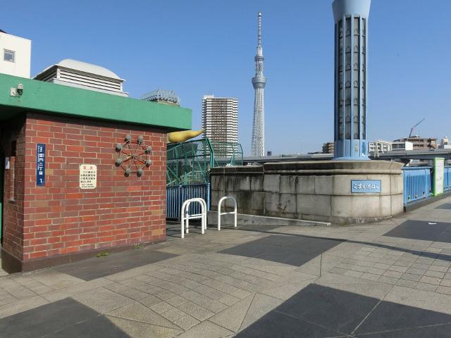 駒形橋の上流右岸側にある公衆トイレ脇から川縁へ降りる。