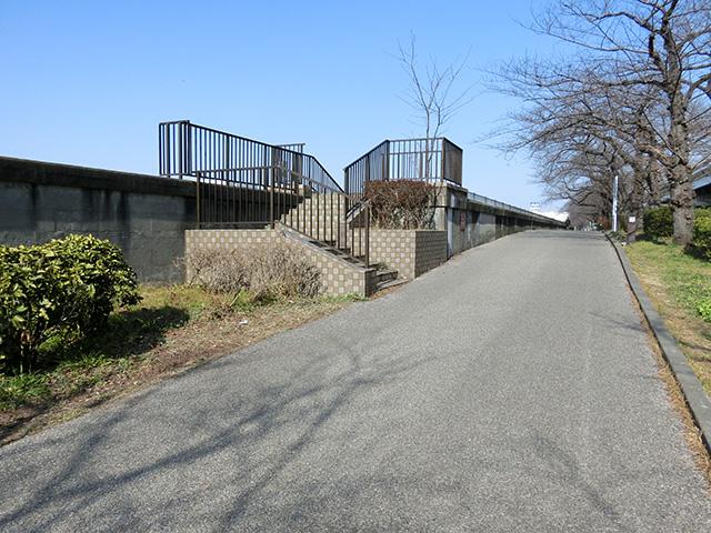 言問橋の左岸上流側の遊歩道の階段を上がる。